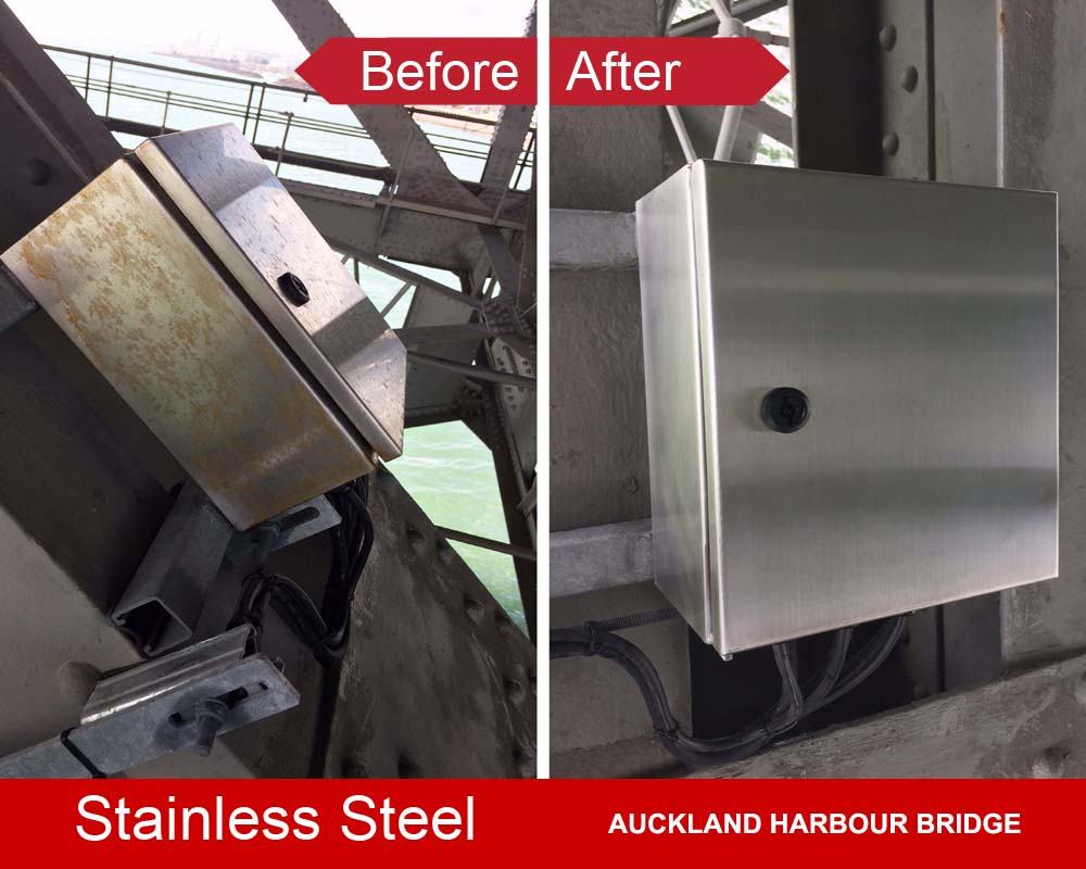 Stainless cabinets protected with ProtectaClear DIY coating to stop rustinless steel rusting