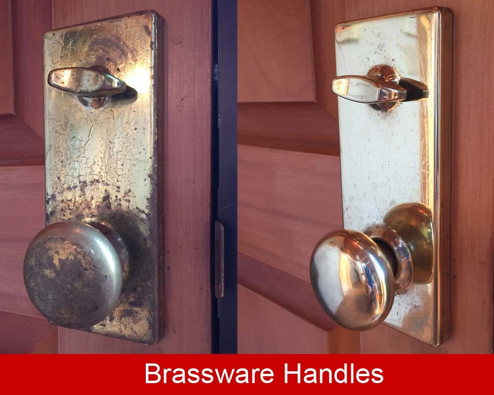 Brass door knob cleaned up and then coated with ProtectaClear to stop tarnish