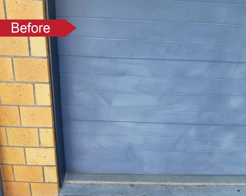 Faded garage doors can be restored with an Everbrite DIY Coating