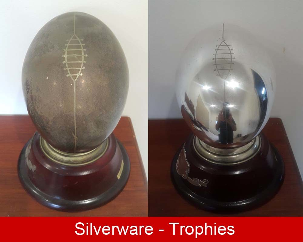 Rugby Trophy polished and protected with ProtectaClear to stop tarnishshing