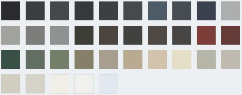 Examples of different powdercoated colours