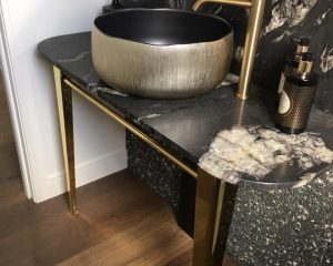 Highly polished brass Bathroom Vanity coated with ProtectaClear to stop tarnish