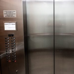 Stainless steel lift doors coated in ProtectaClear stops fingermarks