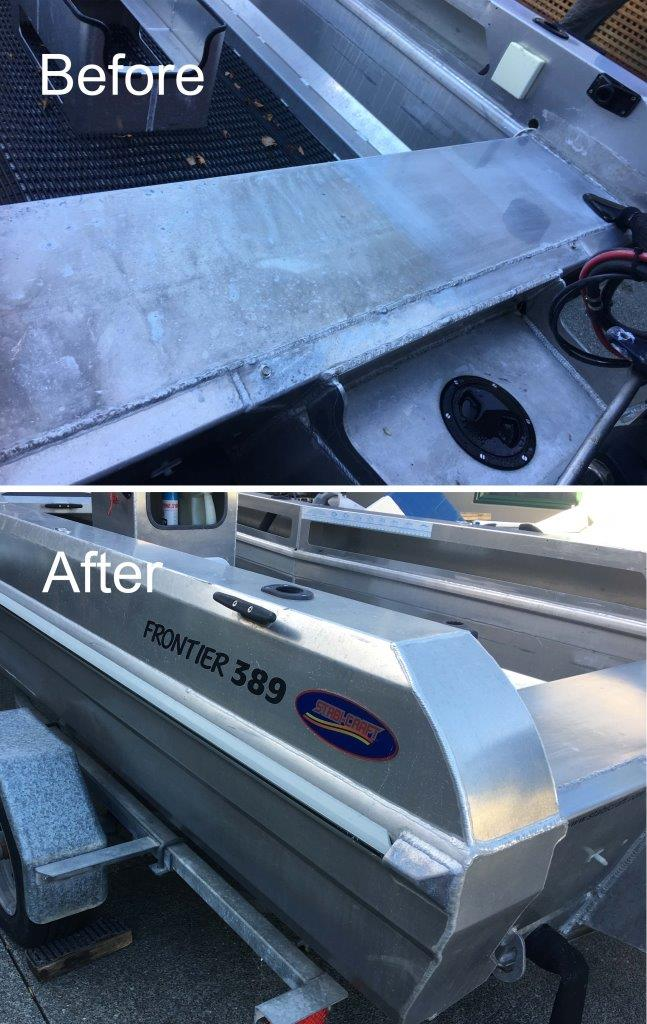 Restore and then coat bare aluminium boats with ProtectaClear
