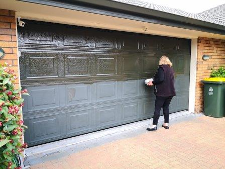 So easy to apply Everbrite to restore and protect a faded garage door