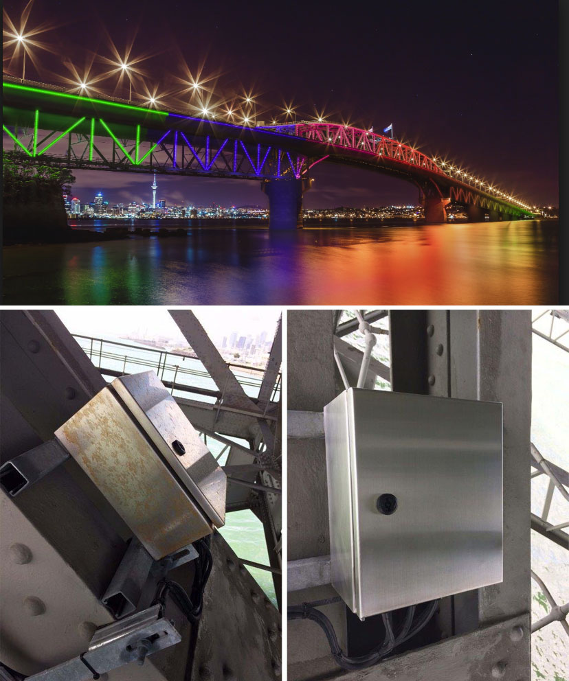 Stainless steel cabinets housing the LED circuitry under the Auckland Harbour Bridge is protected with ProtectaClear Coating