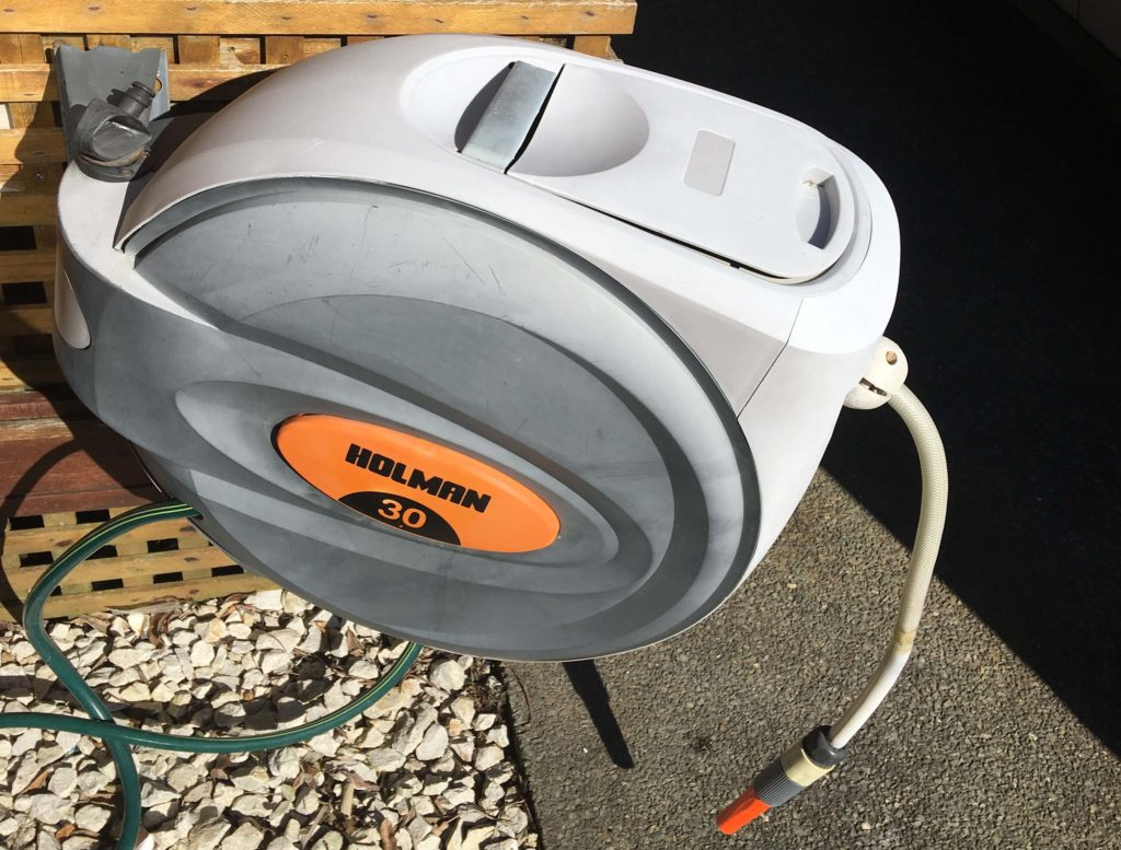faded hard plastic hose reel can be restored with Everbrite
