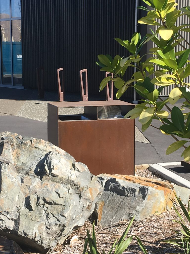 Corten Steel Rubbish bin at Lyttleton Marina protected with Everbrite to stop staining