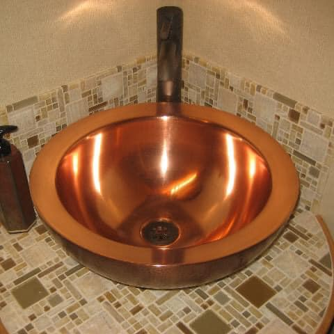 Copper sink protected woth ProtectaClear - will never tarnish