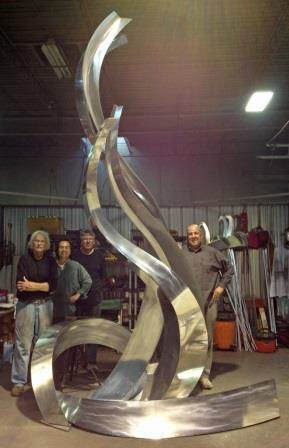 Highly polished stainless steel sculpture protected with ProtectaClear to stop teastaining and prevent grubby finger prints